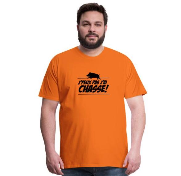 """T-shirt motif sanglier avec texte """"J'peux pas j'ai Chasse !"""""""