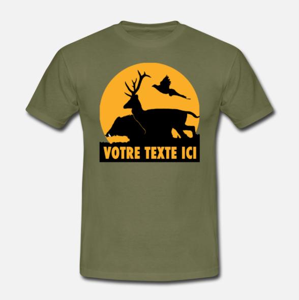 T-shirt motif Chasse et texte personnalisable
